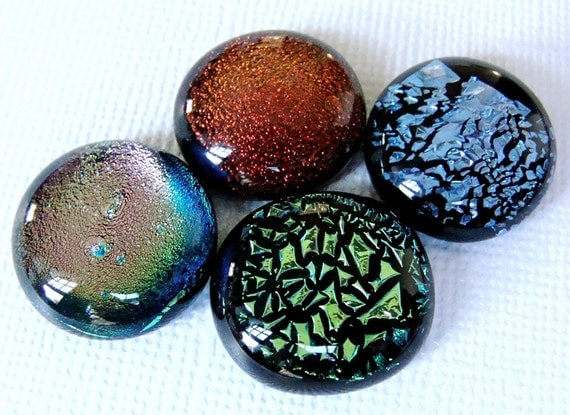 Dichroic Fused Glass Cabochons 17 mm Mix of 4