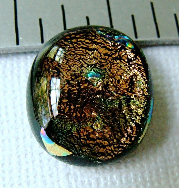 Dichroic Fused Glass Cabochon 18 X 16 mm Golden Bronze