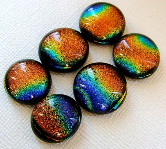 Dichroic Fused Glass Cabochons 15 to 17 mm 6 Gold Wave