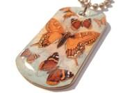 SALE - Orange Butterfly Dog Tag Necklace