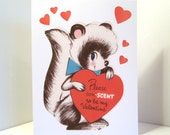 Vintage Valentine Reproduction Cute Skunk