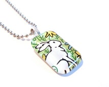 SALE - White Rabbit Glass Tile Pendant