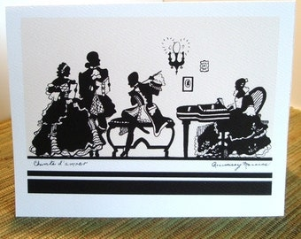 Vintage Silhouette Music Illustration Greeting Card