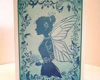 Blue Fairy Silhouette Blank Notecard