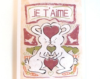 Two Rabbits Je T'aime I Love You Card
