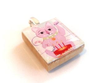 Pink Lucky Cat Scrabble Tile Pendant