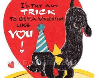 Print It Yourself Valentine Vintage Dachshund Tricks