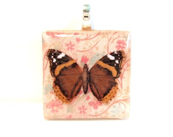 Brown and Orange Butterfly Square Wood Tile Pendant