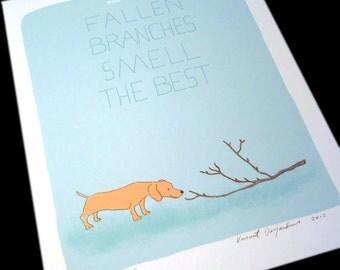 Dachshund Dog Truths Print Blue