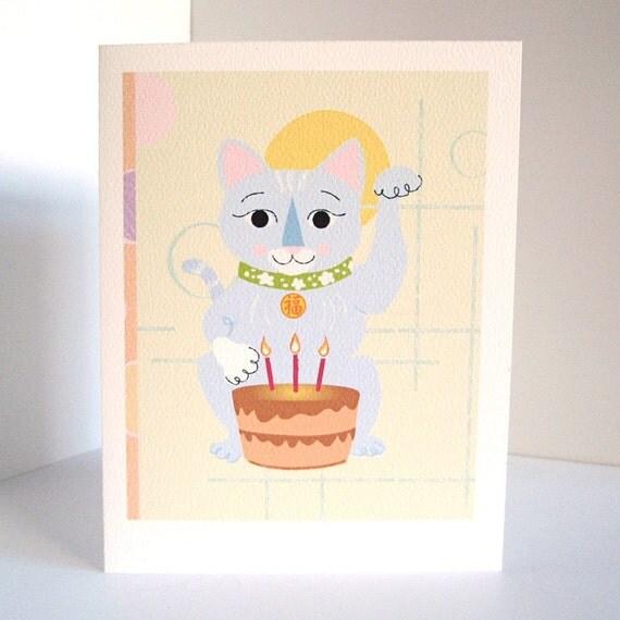 Lucky Cat Birthday Card Original Illustration