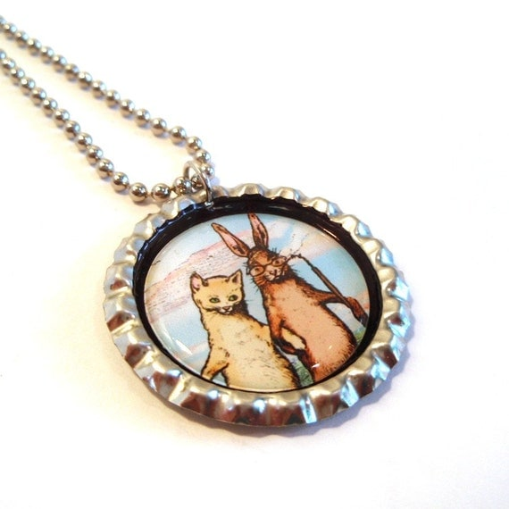 Cat and Rabbit Friendship Necklace