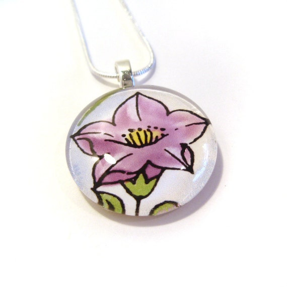 Purple Bellflower Glass Pendant with Necklace
