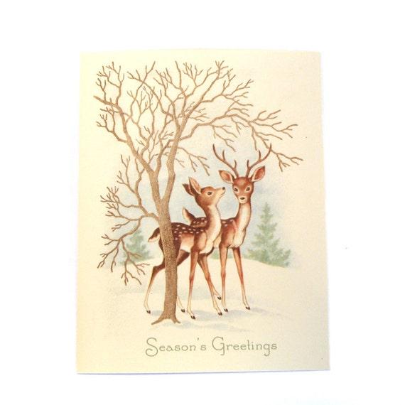 10 Pack Vintage Deer Christmas Card Reproduction