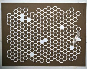 beehive papercut art