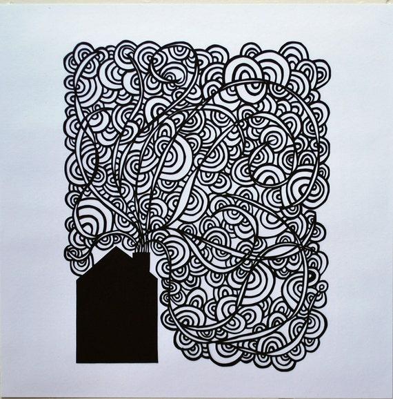 house cut paper art