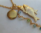 String of Fish with Tiny Crystals and Tiny Locket Necklace