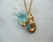 Mermaid Necklace, Crystal Star Necklace, Ocean Inspired, Under the Sea Collection