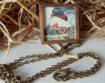 Mother Bird & Babies Necklace, HandMade Wooden Frame, Outdoors Theme, Mother Nature Jewellry