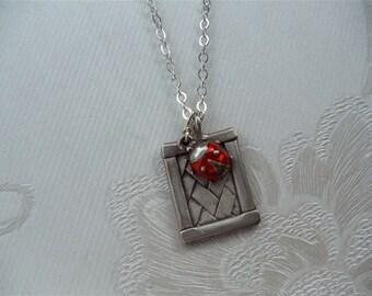 Ladybug Necklace, Sterling Necklace, Rectangle Shape, Basket Weave, Garden Inspired