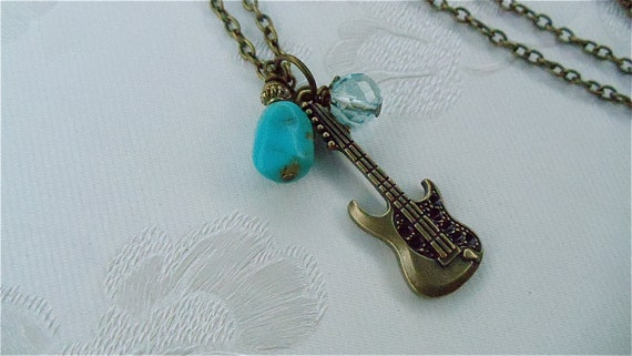 Rock 'N Roll Guitar Necklace, Genuine Turquoise, Blue Quartz Bead, Music Lover's Jewellry