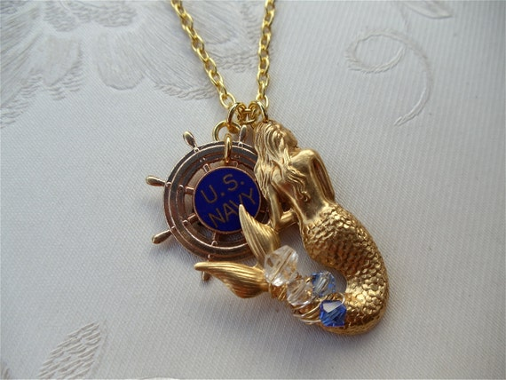 Under the Sea Collection -Mermaid/US Navy Repurposed Necklace