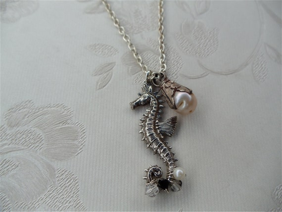 Seahorse Necklace, Swarovski Crystals, Ocean Inspired, Freshwater Pearl Charm, Under the Sea, Charm Jewellry