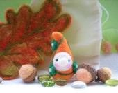 Mystical Orange Sparkle Oak Leaf--NeedleFelted Jaunty Gnome Playset