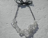 Vintage Glass Button Necklace --
