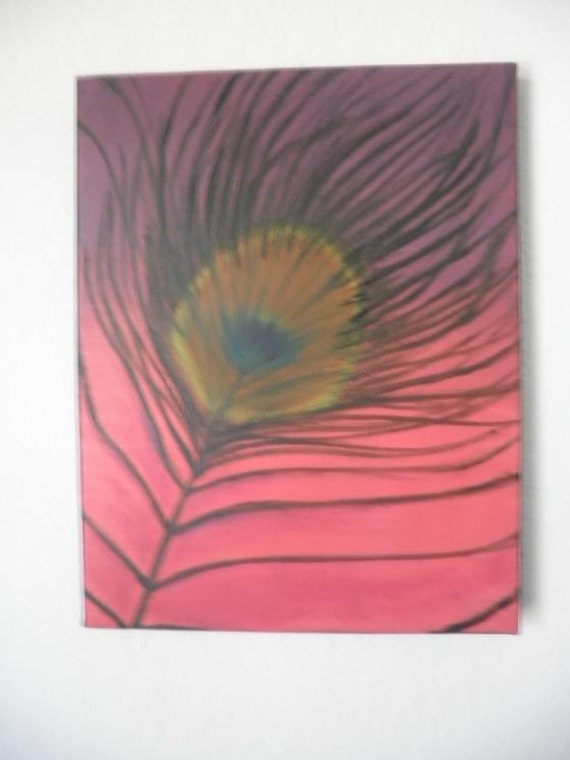 Original Oil Painting Hot Pink Peacock Feather 16 X 12
