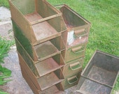 Vintage Industrial StackBin Metal Storage Part Bin, Box, Container - Stackable Rusty Retro Green