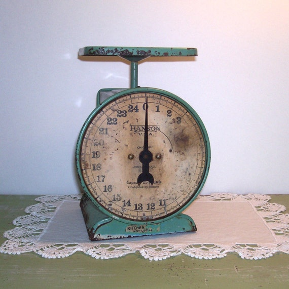 Antique Kitchen Scale: Vintage Green Metal Kitchen Scale Farmhouse Decor