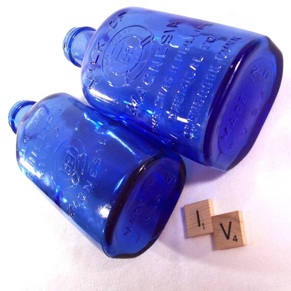 Vintage Phillips Cobalt Blue Glass Bottle Milk of Magnesia