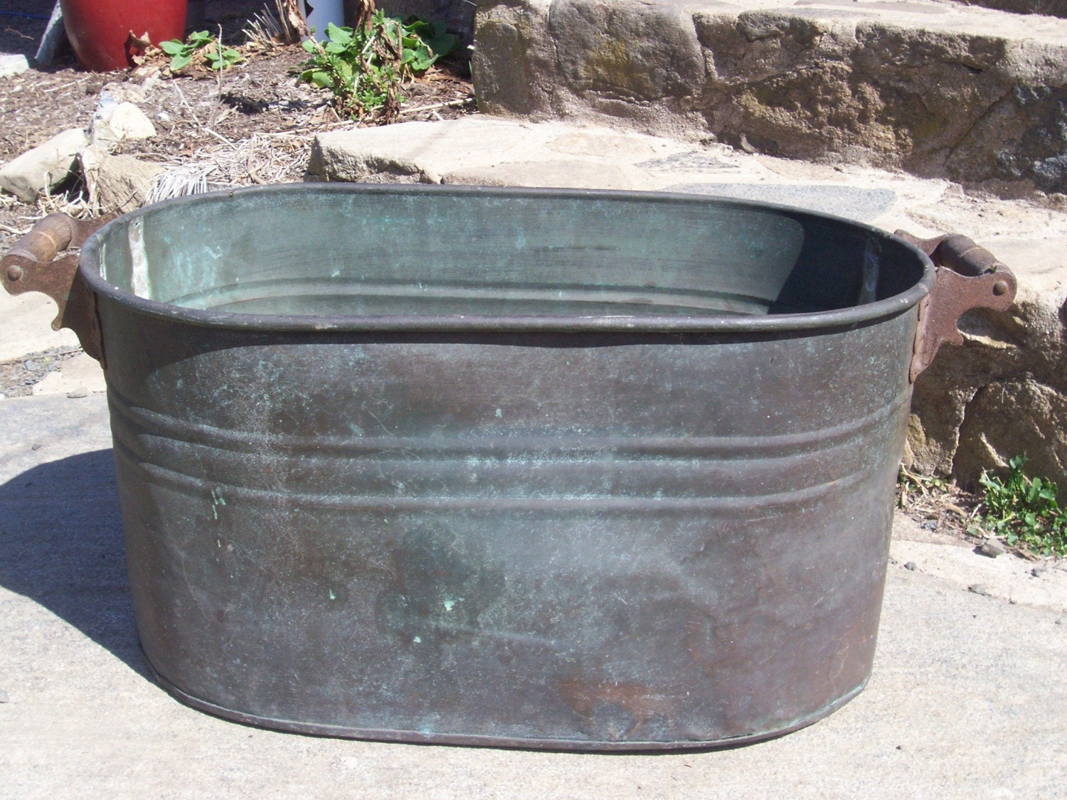 Antique Primitive Copper Pot Wash Tub Double Boiler