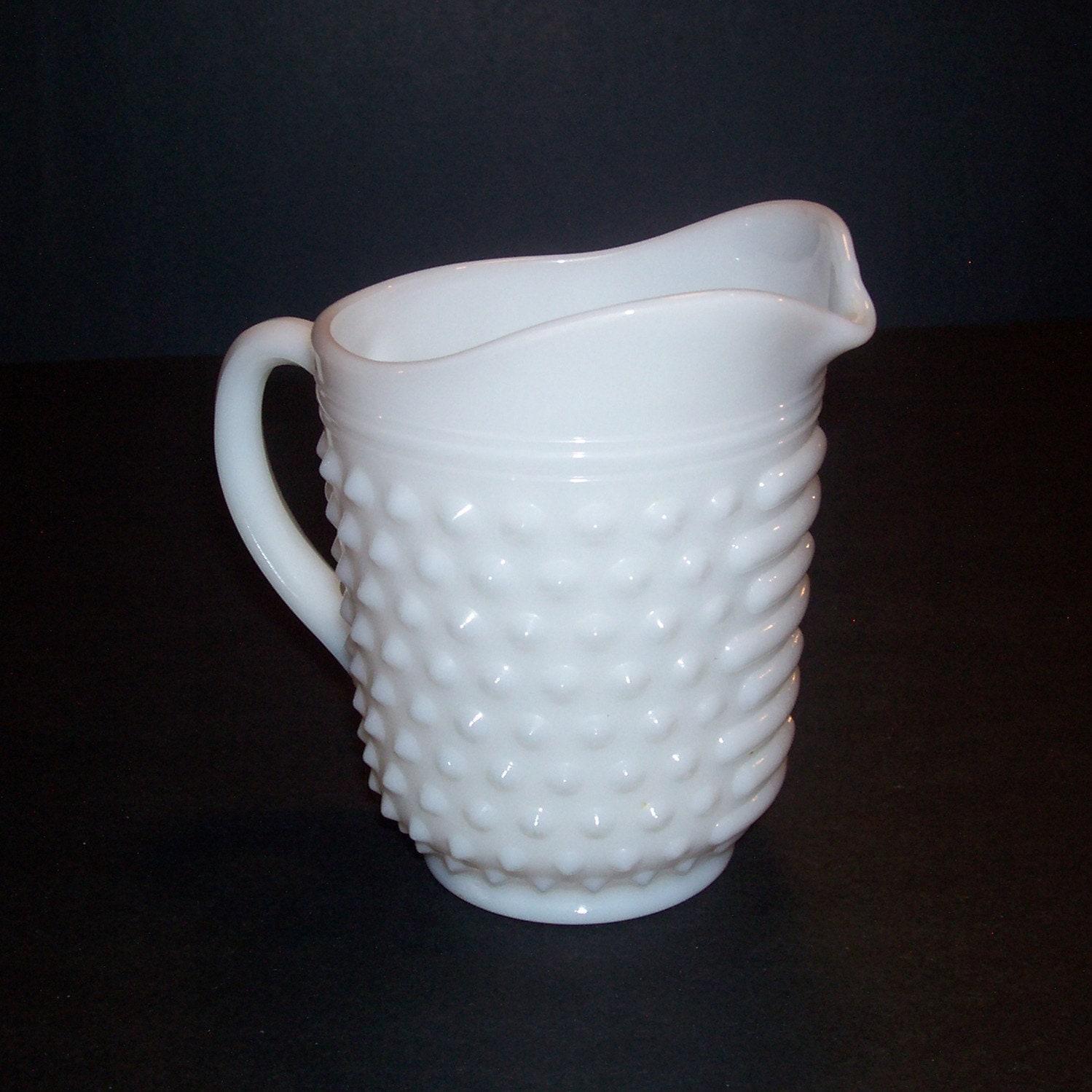 Vintage White Milk Glass Hobnail Pitcher Creamer