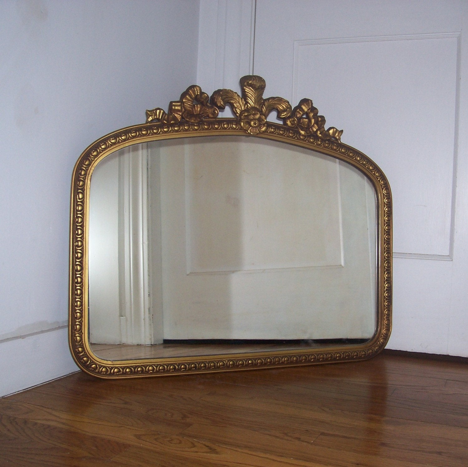 Vintage Gold Gilt Mirror Wood Frame with Gesso Flower Ribbon