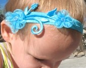 SALE Delicate Teal Headband---The Anya Line----  Perfect for Weddings, Flower Girls, Brides, and Baptisms