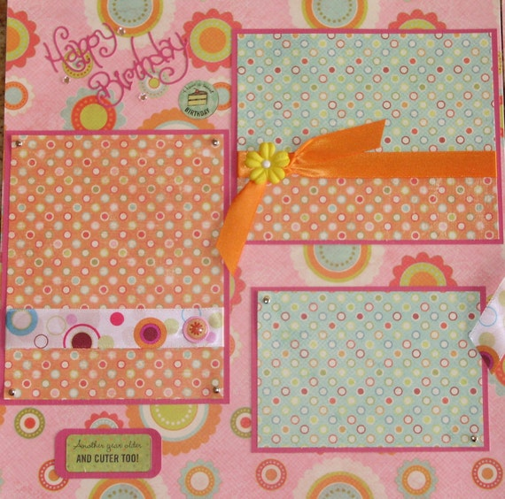 Birthday Premade Scrapbook Pages (2) 12x12
