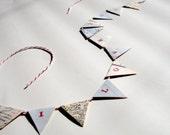 I LOVE YOU Mini Pennant Banner Flag Bunting From Vintage Map