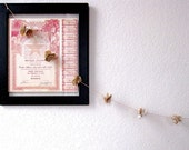 Pride and Prejudice Vintage Book Flower Garland - Literary Decor on Peach Cotton Twine