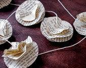 Pride and Prejudice Romantic Garland - Literary Book Text Rosettes on Natural Cotton Twine