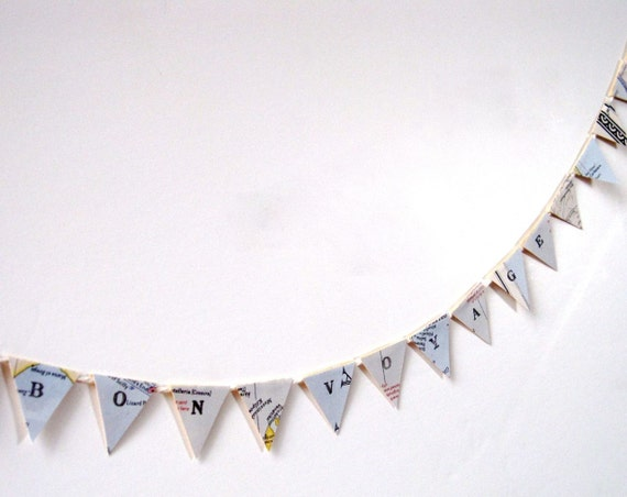 BON VOYAGE Mini Pennant Banner Flag Bunting From Vintage Maps - Extra-Long