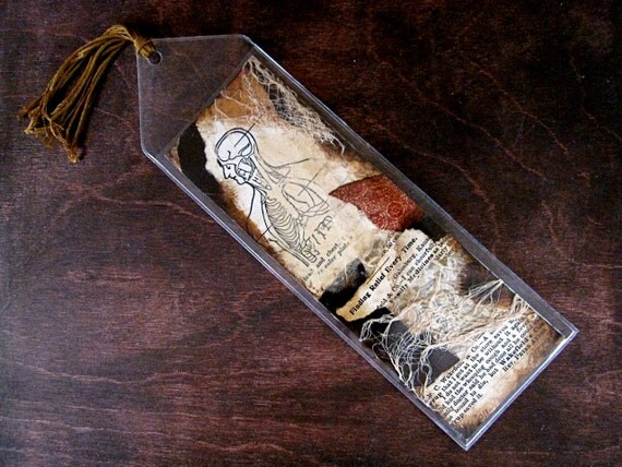 Original Art Bookmark Vintage Medical Mixed Media Collage - Wakefield's Pharmaceutical No. 4 - OOAK - Halloween Anatomical Diagram