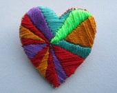 Heart Rays - Hand Embroidered Brooch
