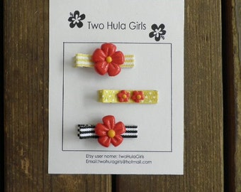 Boutique Clippies ...   Set of 3 Alligator Clips ...   Minnie Red 'n Yellow Flowers