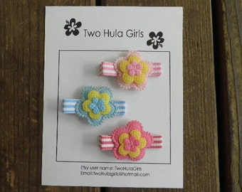Boutique Clippies ...   Set of 3 Alligator Clips ...   Pastel Stripes 'n Flowers