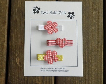 Boutique Clippies ...   Set of 3 Alligator Clips ...   Red Gingham