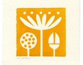 Lotus - linoleum block print