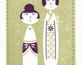 Kokeshi Doll inspired note card. Hiroko and Asuke