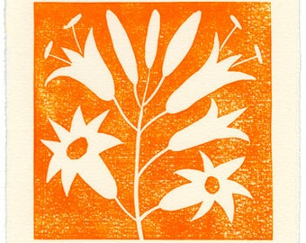 Tiger Lilly - linoleum block print