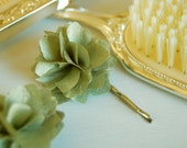 Celadon Green Fabric Flower Bobby Pins or Alligator Clips - Set of 2 for Bridal, Weddings, or Everyday Wear